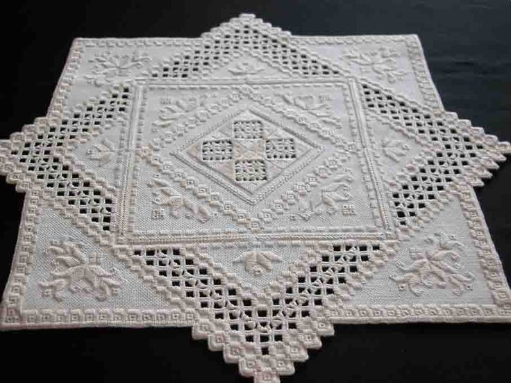 A hardanger doily I embroidered from a pattern by Jackie Gabrini. All details on http://fils-aiguilles-passion.blogspot.fr/2014/05/hardanger-jackie-gabrini.html