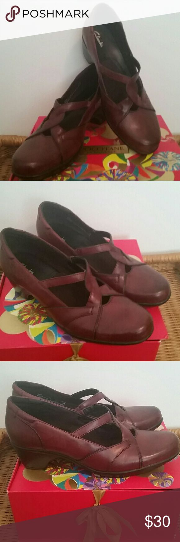 Brand New Clarks Leather Shoes! Brand new burgundy leather Clarks, perfect for working in comfort!.  These are 9 Wide, so they will fit a person who is a 9M  like me, like a 9.5. Clarks Shoes Flats & Loafers