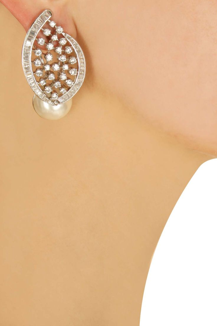 White swarovski earrings with pearl dropavailable only at Pernia's Pop-Up Shop.