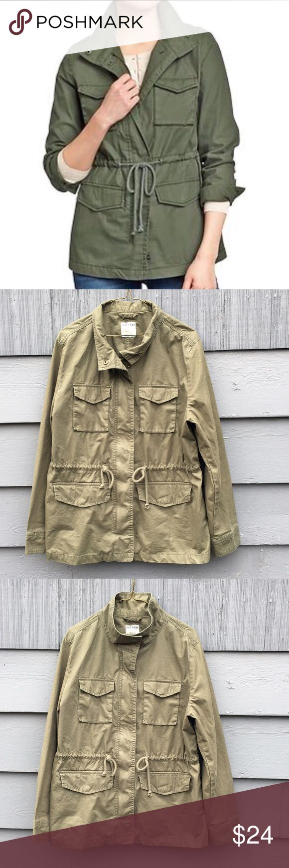 "Army Jacket Utility Coat Green Olive Field Parka Old Navy army green field jacket. Zip and button up front, adjustable drawstring at waist. Can be worn with the Collar cuffed or zipped all the way up. Good condition, only worn a few times. Size: XL True to size. Chest: 46"" Length: 28"" Old Navy Jackets & Coats Utility Jackets"