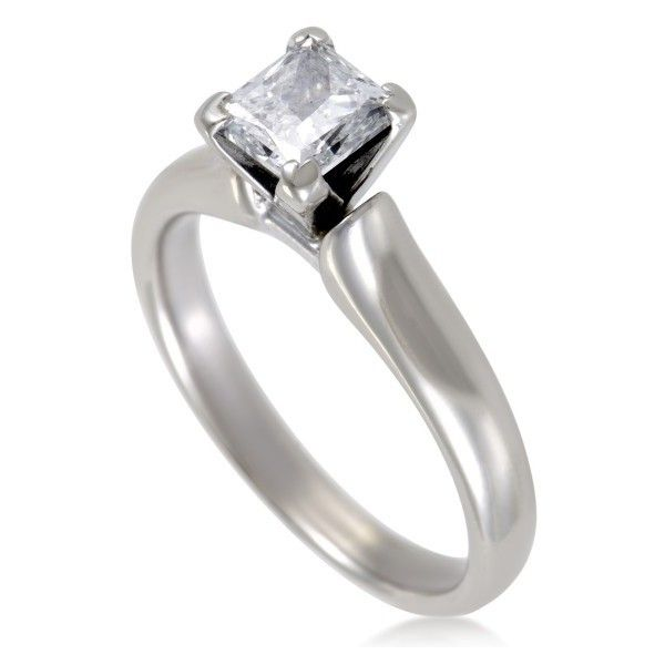 Pre-owned 14K White Gold 1ct. Princess Cut Diamond Solitaire... ($2,600) ❤ liked on Polyvore featuring jewelry, rings, pre owned engagement rings, princess cut engagement rings, engagement rings, princess cut diamond rings and band rings