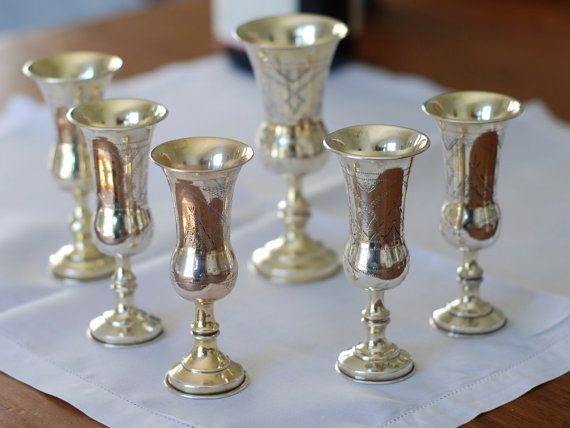 Silver Kiddush Cups  SALE  English Kiddush Cup by SilverMagpies