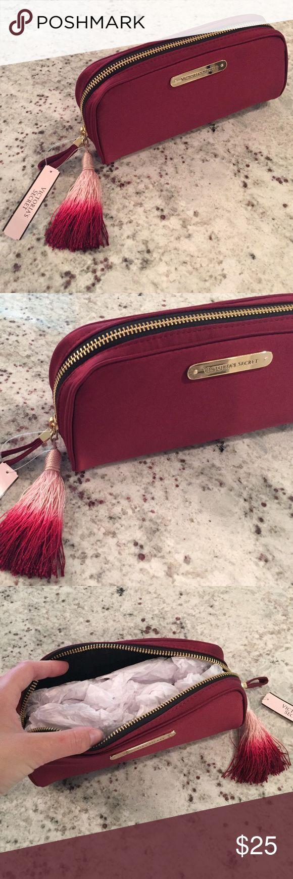 NEW Victoria Secret makeup bag NWT maroon Victoria's Secret makeup bag. 8in x 4in. Victoria's Secret Bags Cosmetic Bags & Cases