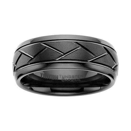 Tire Inspired Mens Tungsten Wedding Ring