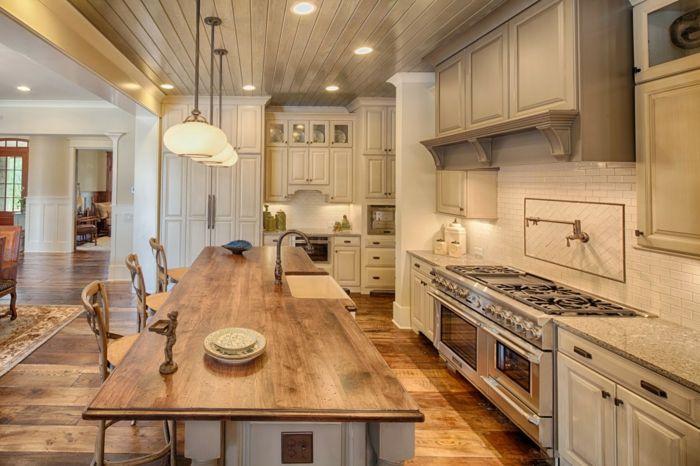 landhausstil küche pendelleuchten kücheninsel rustikale elemente