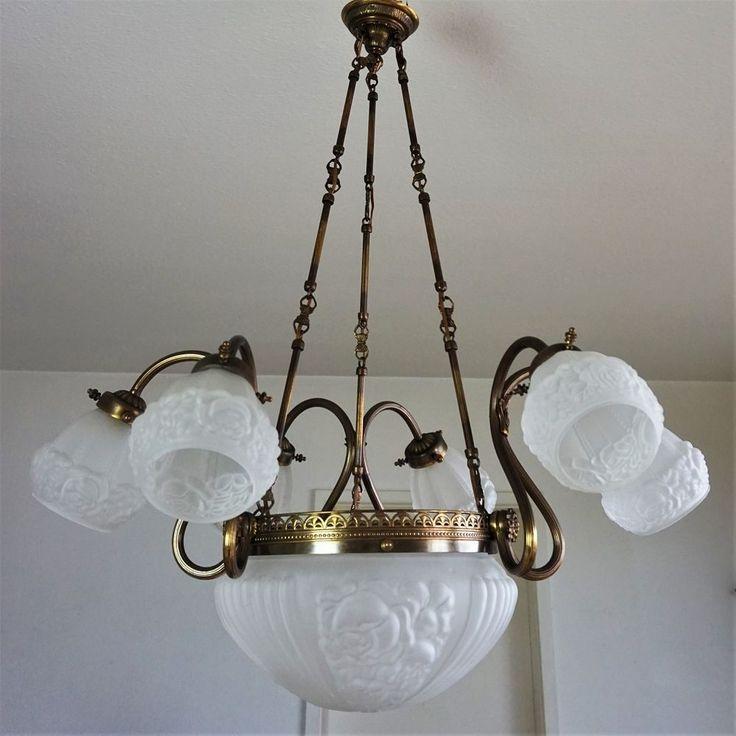 Perfect Gro e Jugendstil Deckenlampe um Antik Kronleuchter Art Nouveau Chandelier