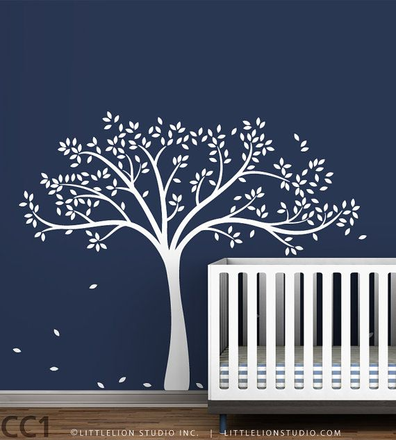 tree wall sticker monochromatic fall tree by leolittlelion 7300 perhaps for the babies room - Blue Wall Decor