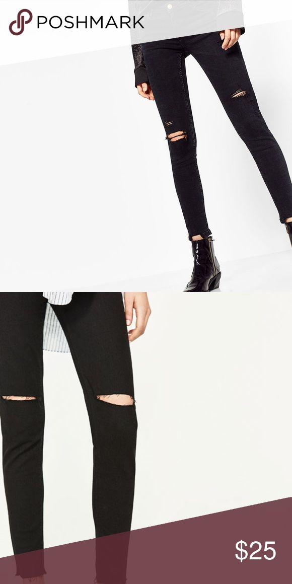 Zara TRF Distressed High Waist Jeggings Black Distressed jeggings with hole at knees and fraying at ankles. High waisted and stretchy Zara Pants