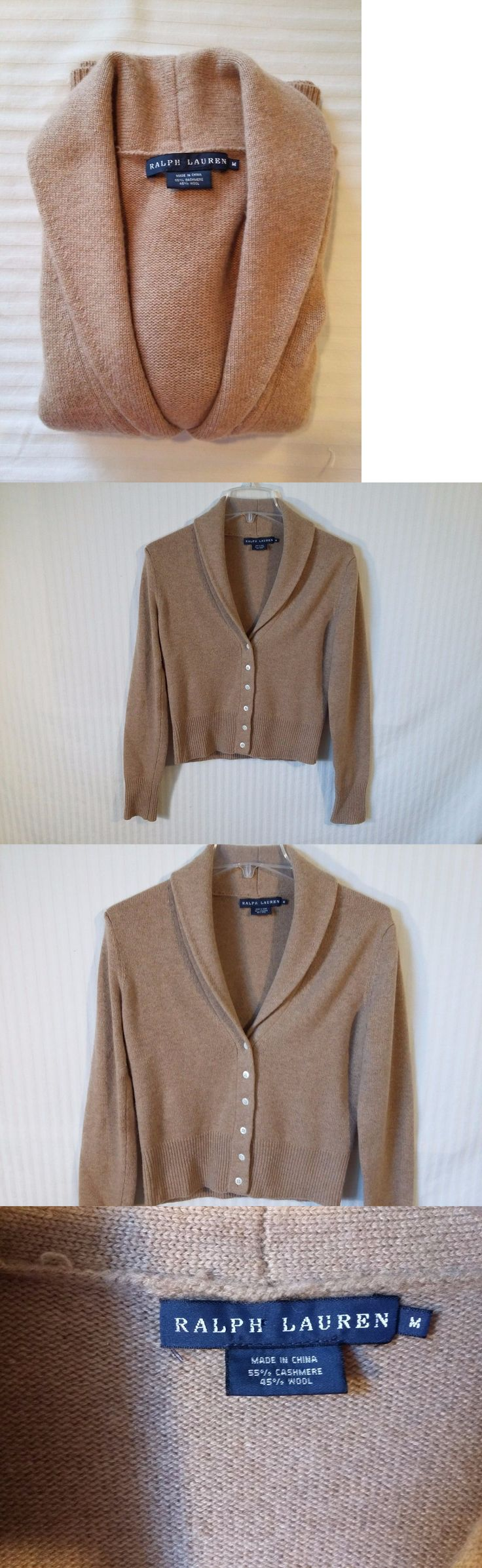 Sweaters 63866: Ralph Lauren M Cashmere Wool Blend Women S Brown Shawl Collar Cardigan Sweater -> BUY IT NOW ONLY: $59.99 on eBay!