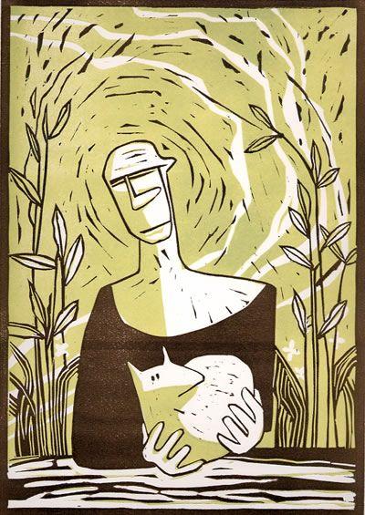 The Good Shepherd - Linocut by Colin Moore