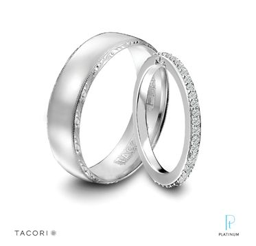 A featured Platinum must-have on The Knot! Tacori men's platinum wedding band featuring signature engraving and milgrain detail and women's platinum and diamond eternity band.
