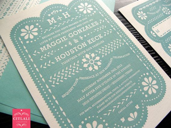 Papel Picado / Flag Banner / Destination / Mexican Wedding Invitation Set  In Aqua / Tiffany