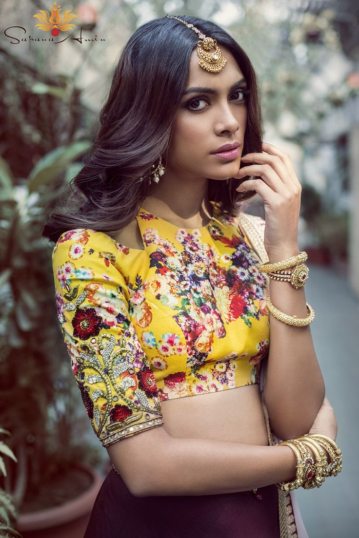 bisouNYC - Yellow Floral Crop Top And Burgundy Lehenga
