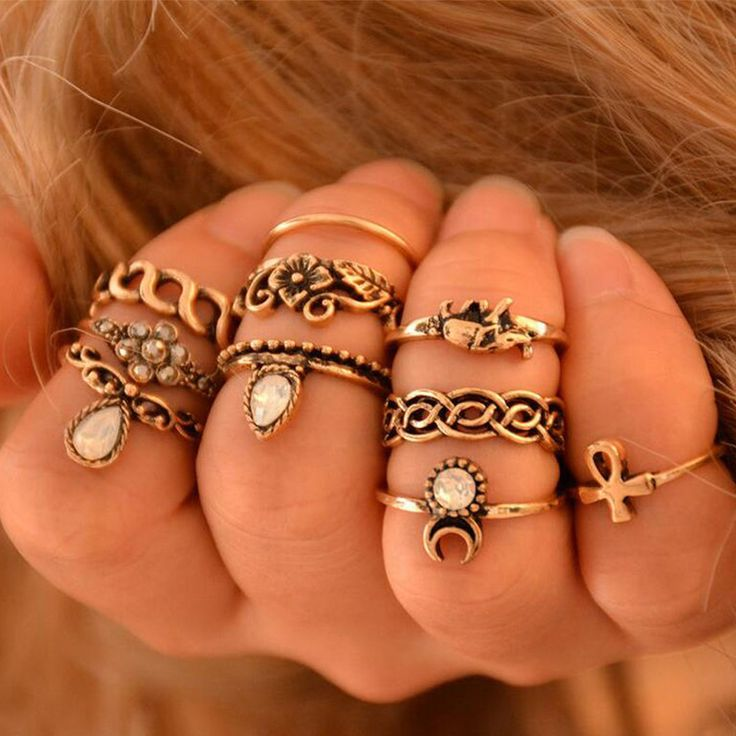 10pcs Vintage Knuckle Rings Tribal Ethnic Hippie Joint Punk Ring Set for Women