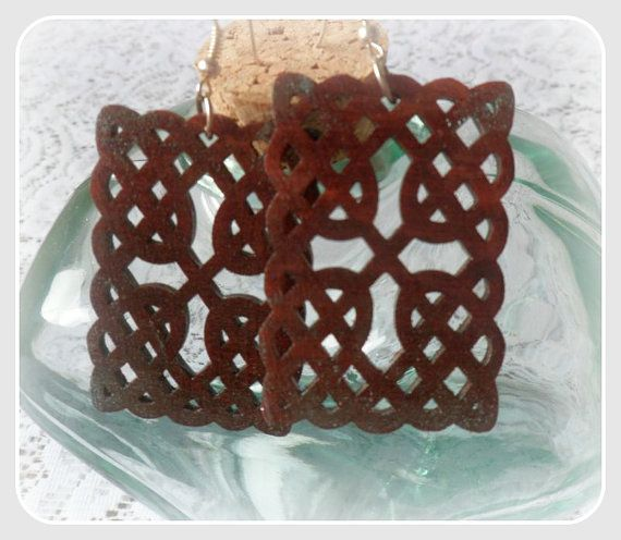 Celtic cross wooden earringswith silver by CarmenHandCrafts, €5.00