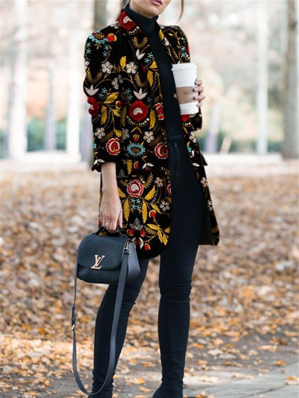 Autumn And Winter Fashion Printed Long-Sleeved Suit Jacket Coat