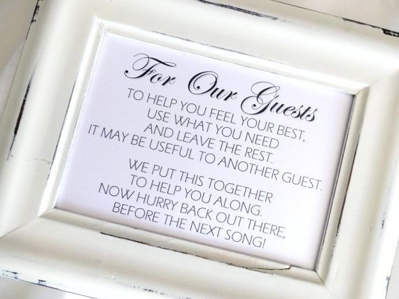 Bathroom Goodies Basket Wedding Sign   White or Ivory. Best 25  Wedding bathroom baskets ideas on Pinterest   Wedding