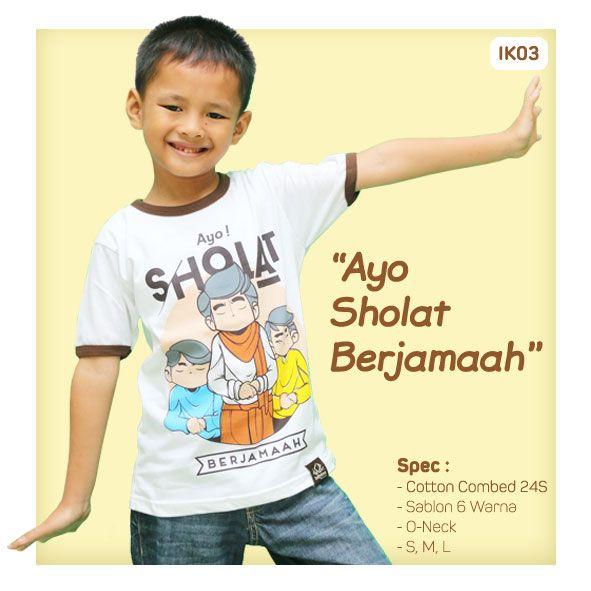 Kaos Anak Muslim Bilhikma IK03 Tema : Ayo Sholat Berjamaah