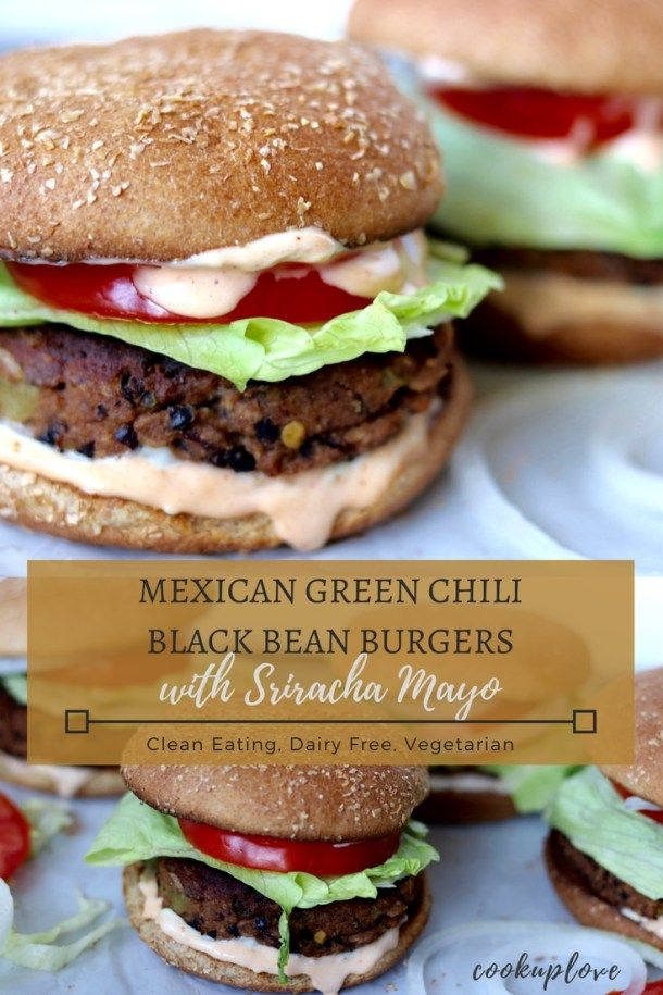 These Southwest inspired Mexican Green Chili Black Bean Burgers with Sriracha Mayo are the perfect dose of flavor & spice that everyone in the family will enjoy! They are quick & easy, taking only 30 minutes to make from start to finish! They're clean eating, plant based, dairy free(df), easily gluten free and healthy!