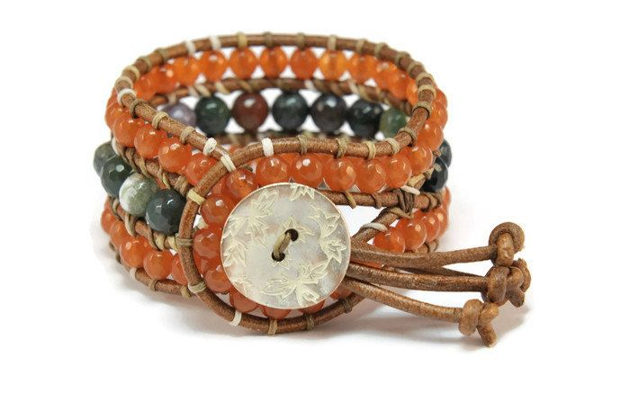 Boho Tansy * Agate & Jade Brown Leather Strand Boho Style Wrap Bracelet
