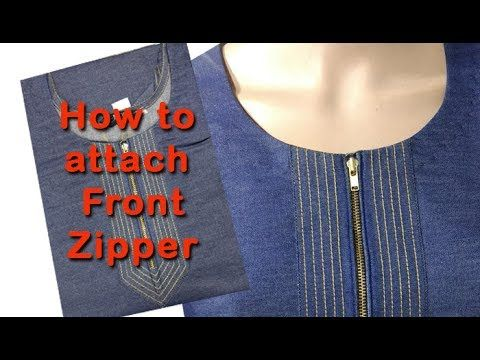 How to attach stylish front zipper DIY hindi tutorial, how to stitch kurti with front zipper - YouTube