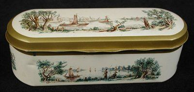 Doosje voor theelepeltjes met afbeelding zeilschepen en vissers, met scharnierend deksel