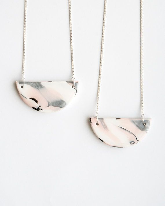 Spring is right around the corner! Handmade marble clay necklace in pastel colors. Brukne.etsy.com