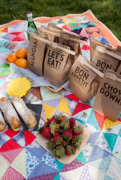 print cute messages on brown paper lunch sacks for a