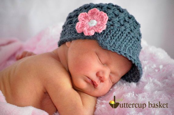 Newborn Girl Crochet Hat, Beanie with brim and flower, charcoal gray, pink