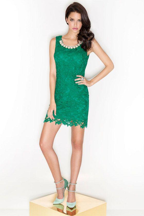 Cabotine Essential vestido verde en guipur. Colección Primavera Verano 2014 #vestidos #mujer