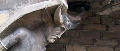 Arnhem - One of the devils of the Maarten van Rossum Huis. Originally the christianity transformed de Greek God pan, half man, half goat with horns on his head into the devil.