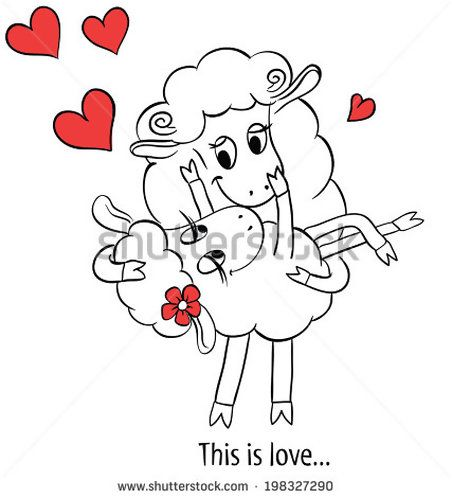 Couple in love Cartoon Two cute enamored sheep with red hearts  Idea for greeting card with Happy Wedding or Valentines Day Vector doodle illustration