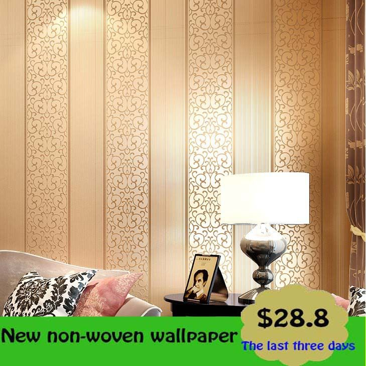 Brief fashion vertical stripe quality three-dimensional flock printing wallpaper non-woven wallpaper tv background wallpaper