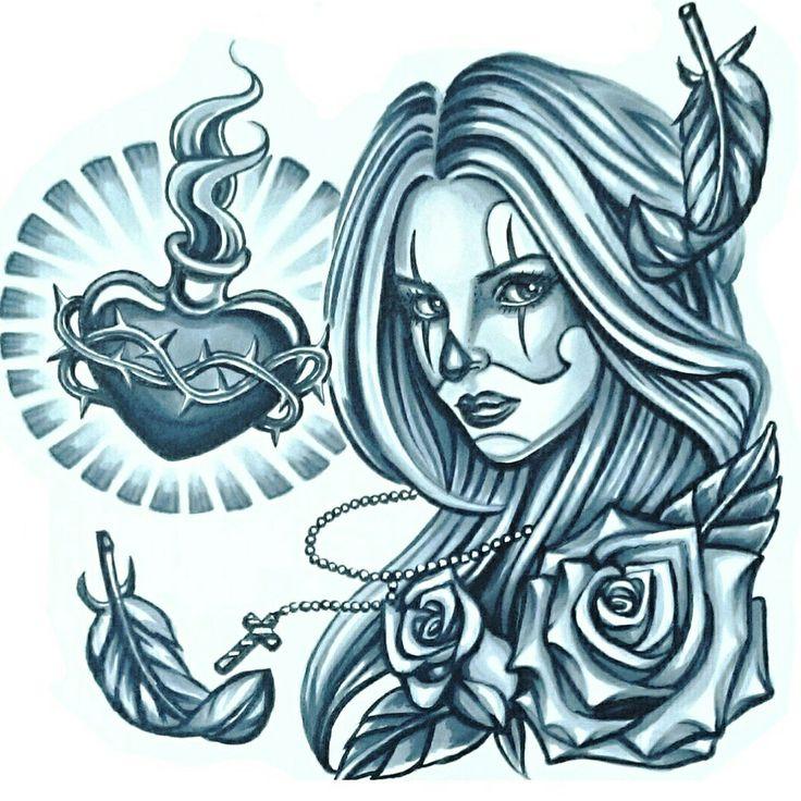 #SkinEvolutionTattoo #KONOMI #konomiangel #tattoo #design #drawing #art #Chicano #sacredheart #rose #clownmakeup #タトゥー #デザイン #女性彫師 #チカーノ