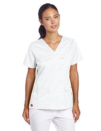 Dickies Scrubs Women's Gen Flex Junior Fit Contrast Stitch V-Neck Shirt