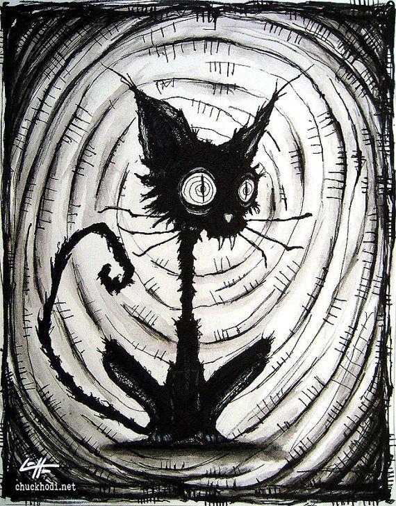 "Print 8x10"" - Black Cat 3 - Halloween Cats Stray Spooky Alley Dark Art Pets Cute Animal Creepy Gothic Art Black and White Kitty"