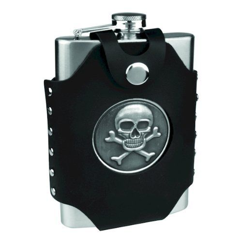 8oz Hip Flask with Skull & Cross Bones Case by CKB Products Wholesale. $3.64. Black Faux Leather. 8oz Stainless Steel Flask. Individually Leak Tested for Quality Assurance. Lowest Prices in the USA. Pewter Skull and Crossbones Emblem. 8oz Stainless Steel Flask with Skull & Cross Bones Emblem  This flask features studded black faux leather (PVC) wrap with belt loop, screw down cap and matte finish stainless steel. Each and every one of our stainless steel hip fla...
