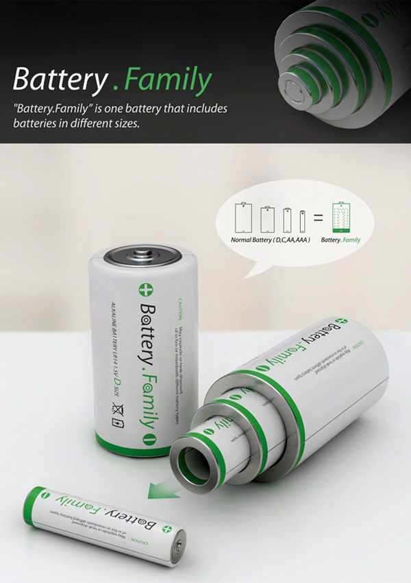 Battery Family - Battery Family is a concept where one big mama battery houses other smaller sizes, making it easy for you to have Size D, Size C, Size AA and Size AAA in one nifty design.