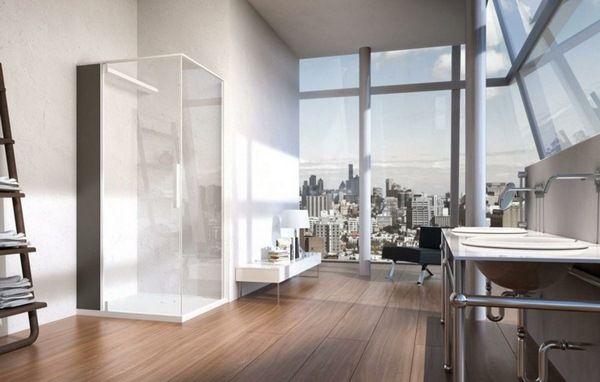 steam shower bath shower enclosure white glass frontage wooden skin