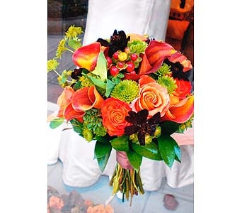 Hand tied bouquet of Mango mini callas, Orange Unique and Circus roses, green button mums, red hyypericum berries, chocolates cosmos and lime green fillers and foliage.