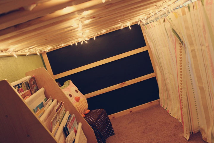 """""""Our finished Ikea Kura bed hack!""""   This is similar to what I did to my dorm bed, but WAY cuter."""