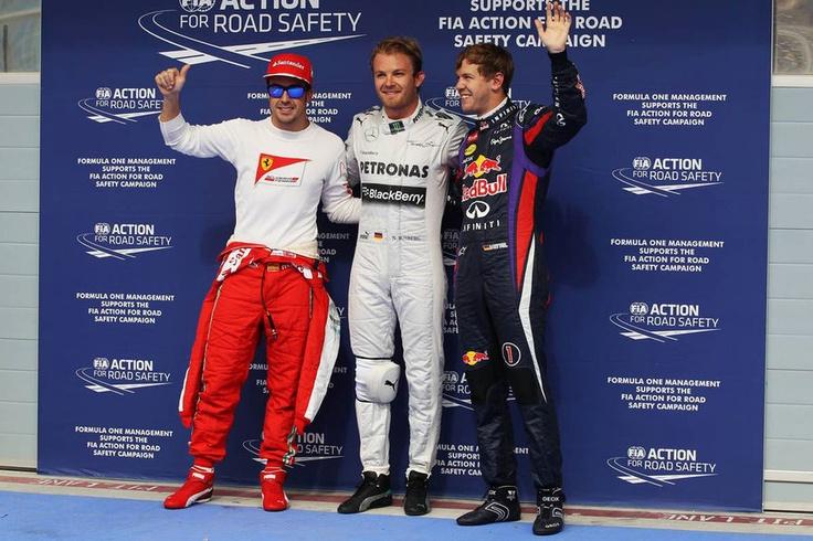 Alonso, Rosberg e Vettel  Qualfiche  GP Bahrain 2013