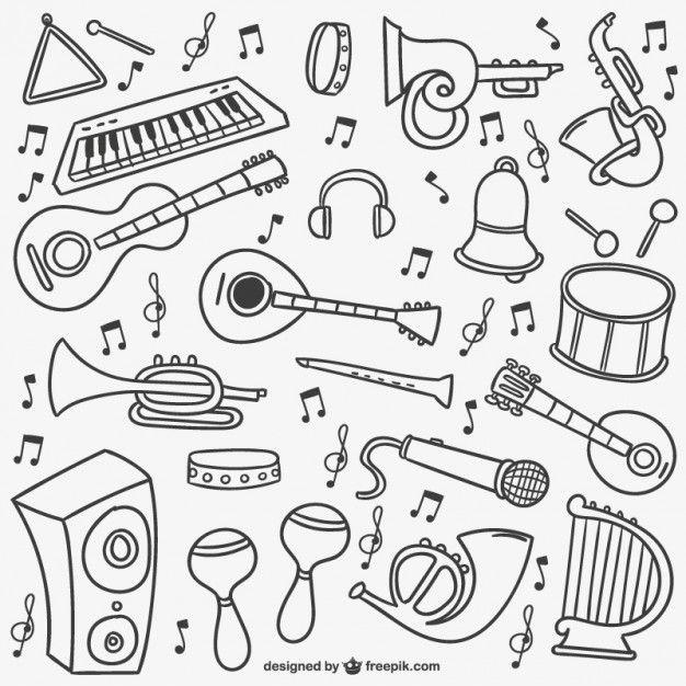 Pacote doodles Música Vetor grátis