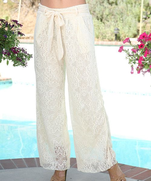 Loving this Ananda's Collection Cream Lace Tie-Waist Palazzo Pants on #zulily! #zulilyfinds