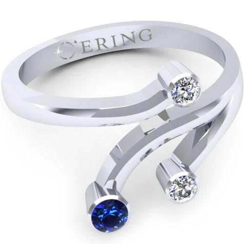 Inel logodna L19ASF inel cu diamante si safir