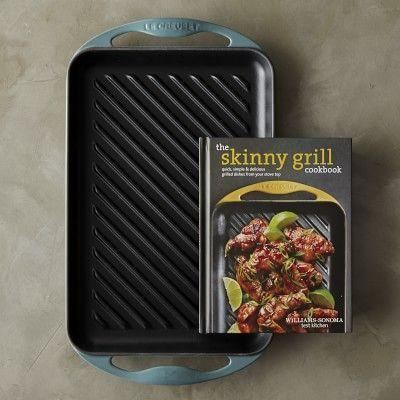 Le Creuset Cast-Iron Rectangular Skinny Grill with Cookbook #williamssonoma