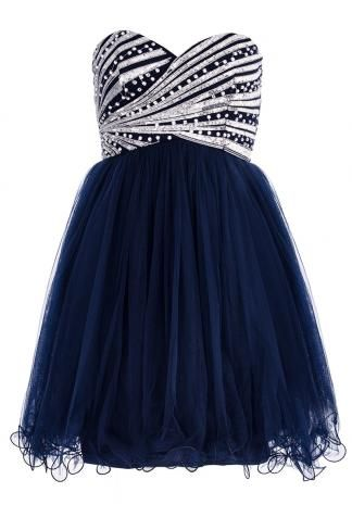 Navy And Silver Sequin Diamante Prom Dress £59.99