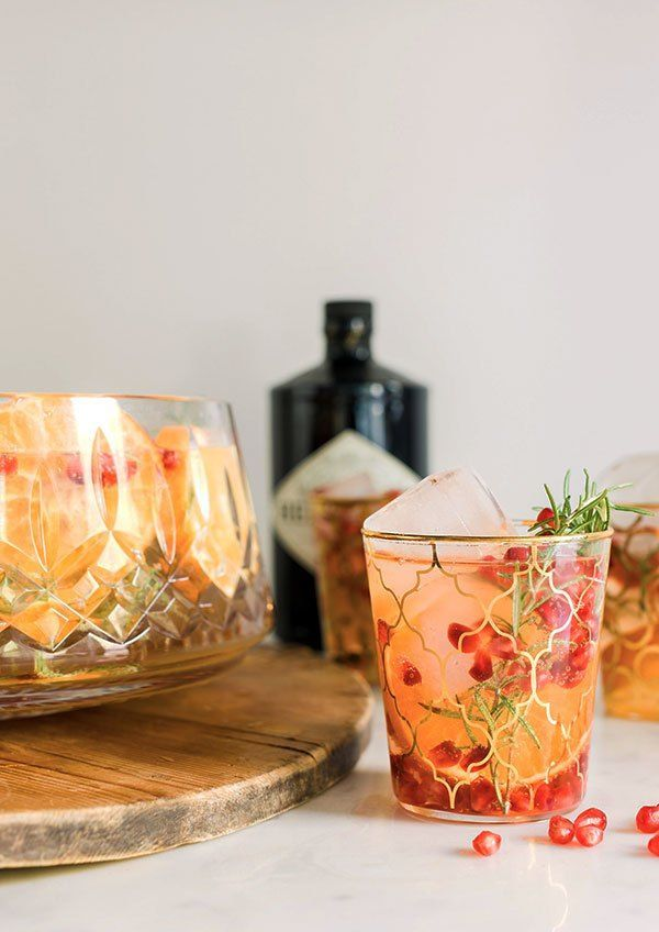 Orange, pomegranate & rosemary gin punch recipe by @waitingonmartha