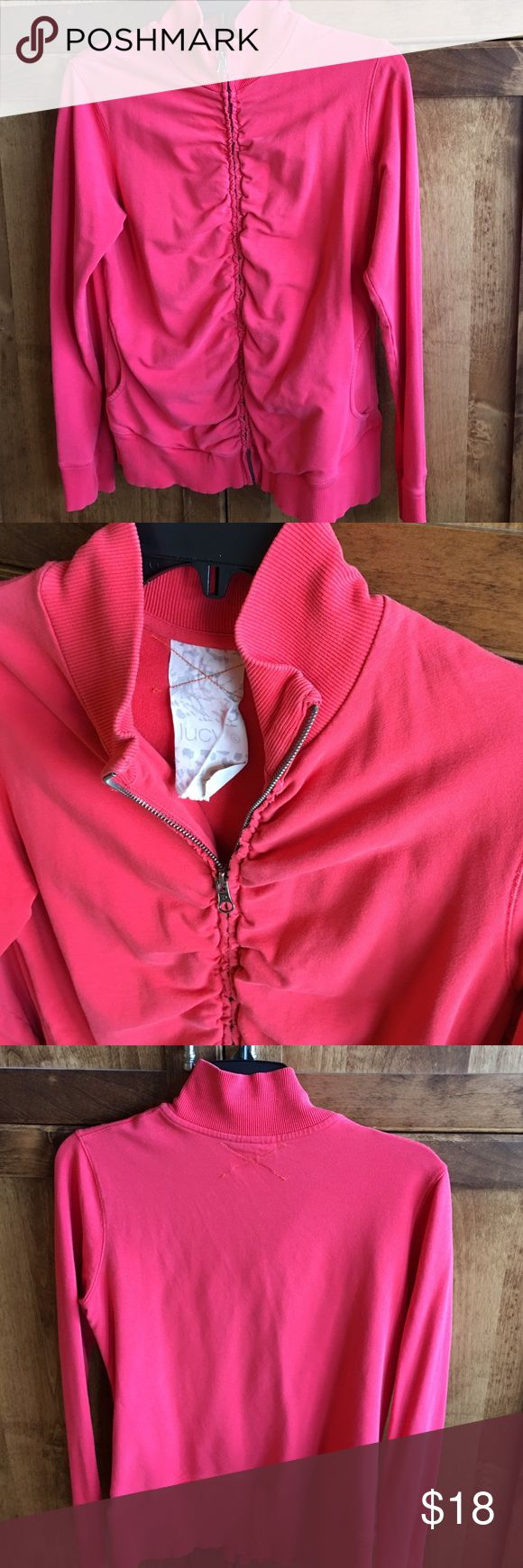 Lucy coral/orange zip up Such a cute zip up with the rouching detail on the zipper. Good used condition with no flaws or stains! Lucy Tops Sweatshirts & Hoodies