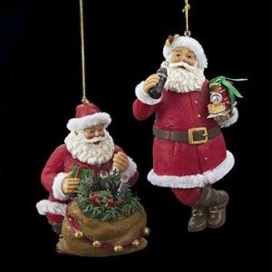 Coca-Cola Santa Pair of Resin Ornaments